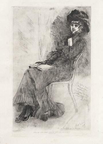 Félicien ROPS (1833-1898) Celle qui fait, celle qui lit Musset. Eau forte. Signée...