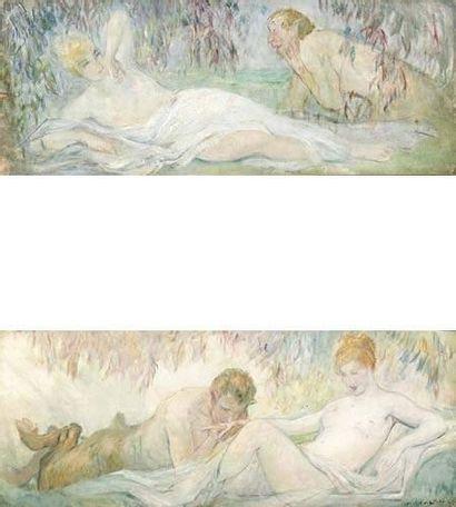 Lucien Louis Bertran LANTIER (1879-1960) Femmes et satyres. Paire d'huiles sur panneau....