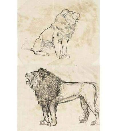 Armand-Alexis LARROQUE (né en1869) Deux lions...