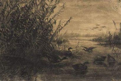 Léon DANCHIN (1887-1939) Canars au bord de...