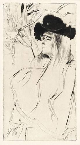 Louis LEGRAND (Dijon 1863-1951) Jeune femme au chapeau noir. Eau-forte originale...