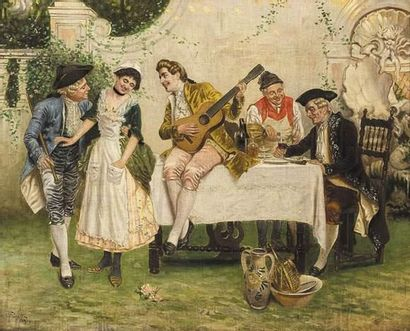 F.CIOTTA (XIX) Scène galante. Huile sur toile....