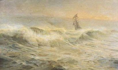 Jean PAGUENAUD (1876-1952) Bateau en mer. Huile sur toile. Signée et datée 1905...