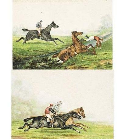 Victor Geruzez dit CRAFTY (1840-1906) La course. Le passage de la rivière. Paire...