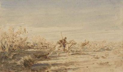 Félix ZIEM (1821-1911) Chevaux camarguais....