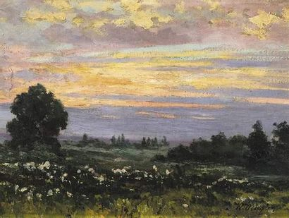 Wilhelm MENZLER (1846-1926) Paysage. Huile...