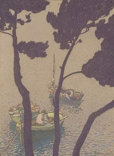 David DELLEPIANE (1866-1925) Barques à travers...