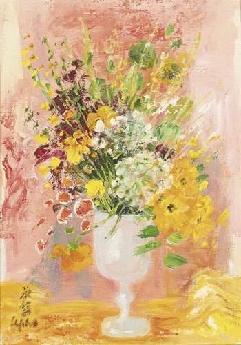 LE PHO (1907-2001) Bouquet de fleurs. Huile...