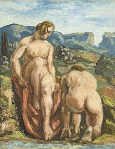 Pierre GIRIEUD (1874-1948) Baigneuses. Huile...