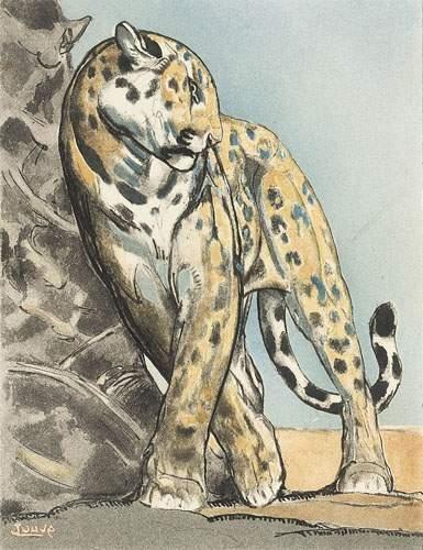 Paul JOUVE (1880-1973) Panthère contre un...
