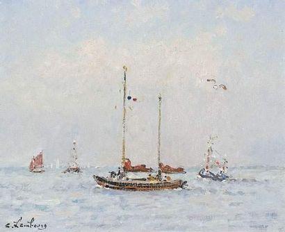 André HAMBOURG (1909-1999) Le deux mâts vers...