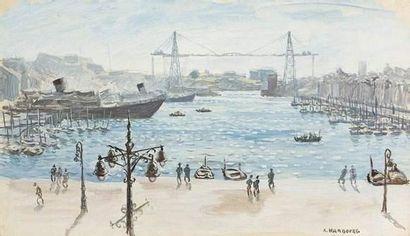 André HAMBOURG (1909-1999) Le port de Marseille...