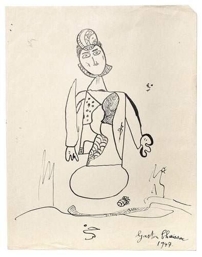 Gaston CHAISSAC (1910-1964) Personnage, 1947....