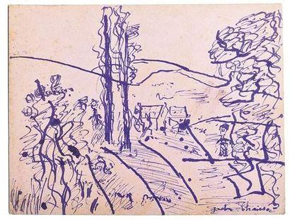 Gaston CHAISSAC (1910-1964) Paysage avec...