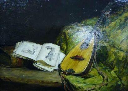 Aimé PONSON (1850-?) Nature morte à la mandoline....
