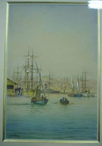 Emile HENRY (1842-1920) Bateaux à quai. Aquarelle....