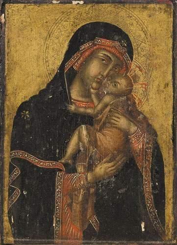 Icône Grecque ou Byzantine. Vierge à l'enfant....