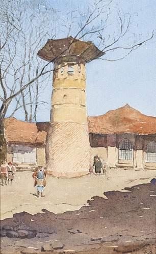 Arcady STOLIPINE (1896-1992) La tour. Aquarelle....