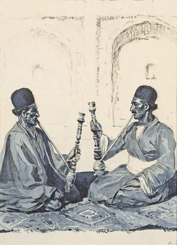 Arcady STOLIPINE (1896-1992) Fumeurs de narguilé....