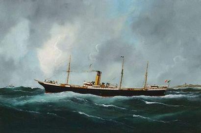 E. ADAM ( 1868-1938) L'Alexandria. 1903. Huile sur toile. Signée et datée en bas...