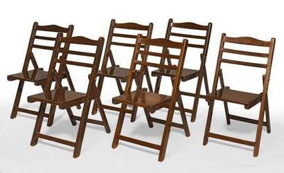 Série de six chaises de pont,pliantes, assises...