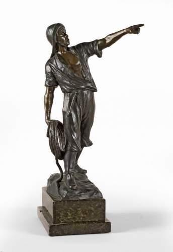 Sujet en bronze signé Ernst BECK représentant...