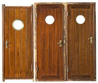 Deux portes de bateau en teck massif avec...