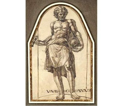 Attribué à Bartolomeo PASSAROTTI (1529-1592) Le sculpteur. Lavis d'encre. 30 x 20...