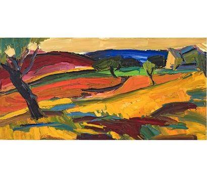Pierre AMBROGIANI (1907-1985) Paysage vallonné....