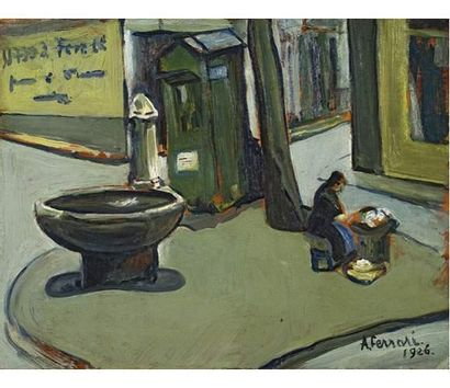 Antoine FERRARI (1910-1995) Le kiosque. Huile...