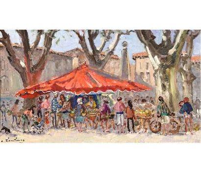 André HAMBOURG (1909-1999) Samedi ou le parasol rouge sur le marché à Saint Remy....