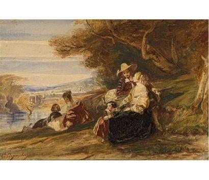 Camille ROQUEPLAN (1803-1855) Déjeuner champêtre. Gouache signée en bas à gauche....