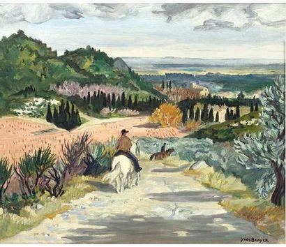 Yves BRAYER (1907-1990) Cavaliers vers Maussane....