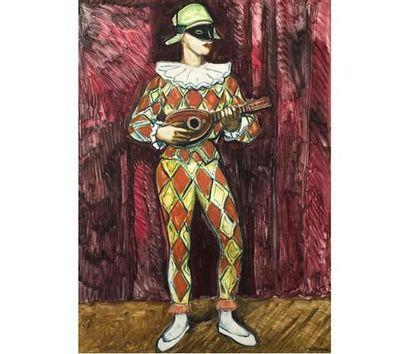 Yves BRAYER (1907-1990) L'Arlequin. Monotype...