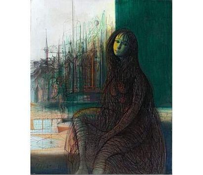 Jean CARZOU (1907-2000) Rêverie. Huile sur toile signée en bas à gauche et datée...