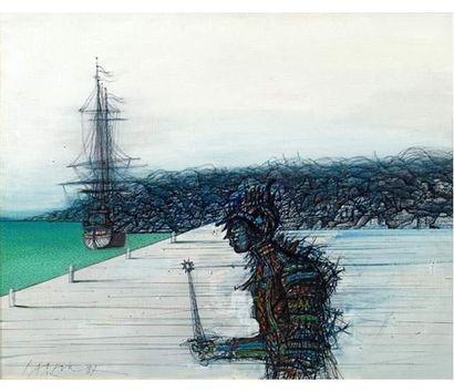 Jean CARZOU (1907-2000) La Caravelle. Huile sur toile signée et datée 1987. 65 x...
