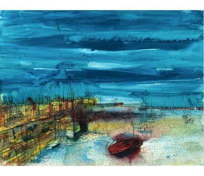 Jean CARZOU (1907-2000) Vue d'un port dans...