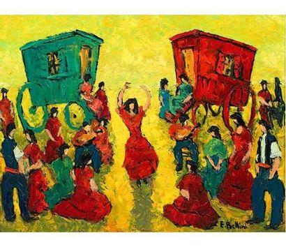 Emmanuel BELLINI (1904-1989) Gitans. Huile...