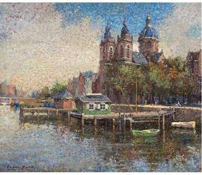 FRAN-BARO (1926-2000) Amsterdam. Huile sur...