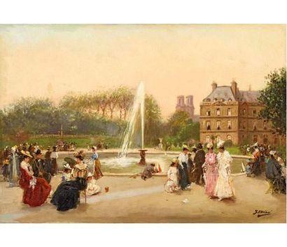 Gaspar MIRO LLEO (1859-1930) Le jardin du...