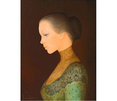 Guy SÉRADOUR (1922) Portrait de femme de profil. Huile sur toile signée en bas à...