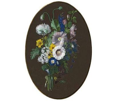 Augustin Alexandre THIERRIAT (1789-1870). Bouquet de fleurs aquarelle de forme ovale,...