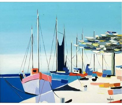 Victor HASCH (1945) Voiliers dans un port....