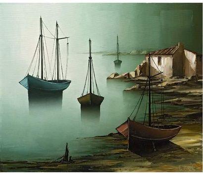 Gilbert BRIA (1933) Bord de mer. Huile sur...