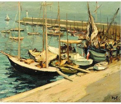 Marcel DYF (1899-1985) Vue d'un port. Huile...
