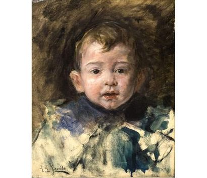 Eduardo Léon GARRIDO ( 1856-1949 ) Portrait de jeune garçon. Huile sur toile signée...