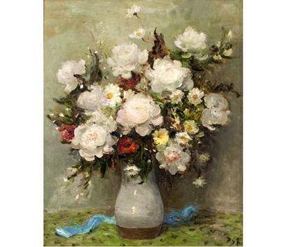 Marcel DYF (1899-1985) Bouquet de roses blanches....