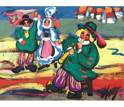 Henry D'ANTY (1910-1998) Scène bretonne....