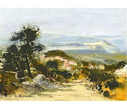 Michel JOUENNE (1933) Les toits roses. Huile...