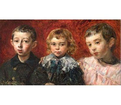 Eduardo Léon GARRIDO ( 1856-1949 ) Portrait de famille. Huile sur panneau signée...